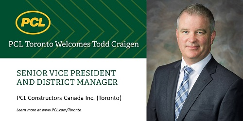 PCL Toronto announces appointment of Todd Craigen