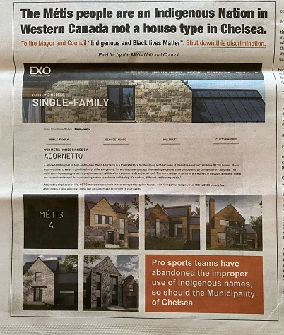 Chelsea builder to drop Métis name from housing project